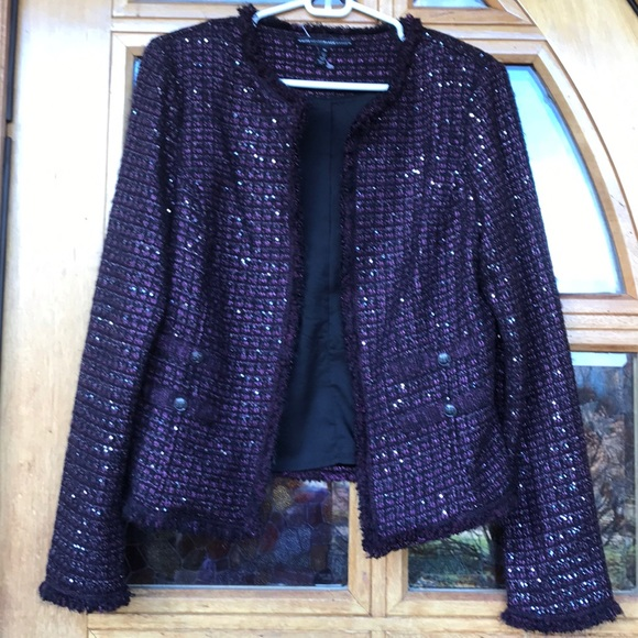 White House Black Market Sweaters - Sequin Rich plum Sweater jacket.